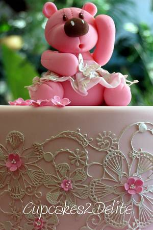 Teddy & Lace Cake - Cake by Cupcakes2Delite