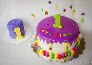 Tutti Fruity 1st Birthday Cake with Matching Smash Cake - Cake by Jennifer's Edible Creations
