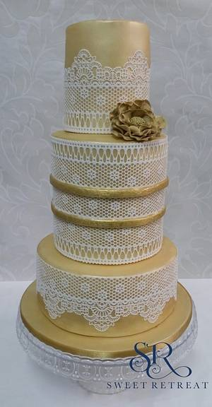 Golden Lace Wedding Cake - Cake by Sweet Retreat Cakes - Gifted Hands