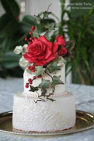 Red Rose wedding cake - Cake by Silvia Costanzo