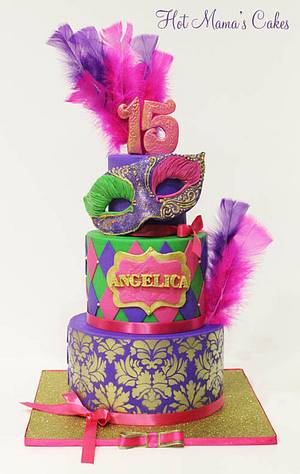 Mardi Gras Quinceanera!  - Cake by Hot Mama's Cakes