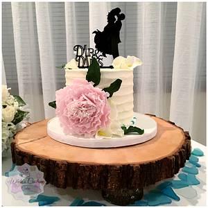 Peony Wedding  - Cake by Sabrina - White's Custom Cakes