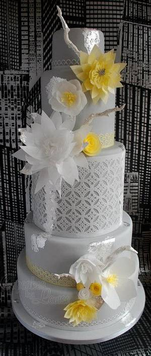 Contemporary wedding cake - Cake by CupcakesbyLouise