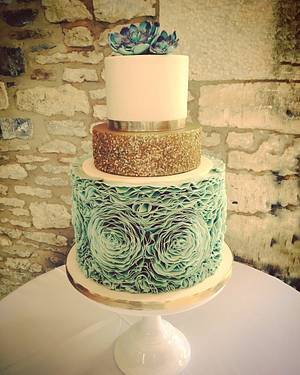 Mint Rose Ruffle and Sequin Cake with Succulents  - Cake by Samantha Tempest