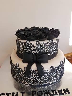 Birthday cake with black roses - Cake by Kamelia