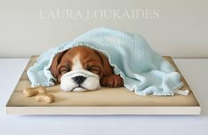 Benson the Sleepy Bulldog - Cake by Laura Loukaides