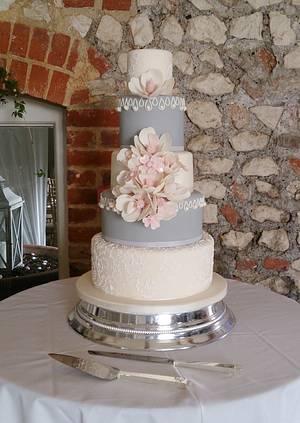 Peony and Dogwood - Cake by THE BRIGHTON CAKE COMPANY