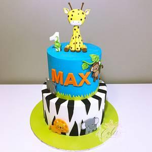 Giraffe jungle cake - Cake by cakesbylucille
