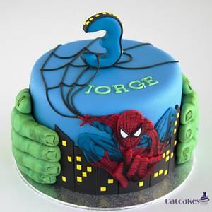 Spiderman & Hulk cake - Cake by Catcakes