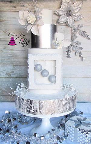 Cuties Little Christmas Collaboration: Silver and White Christmas - Cake by Cakes By Tiffy
