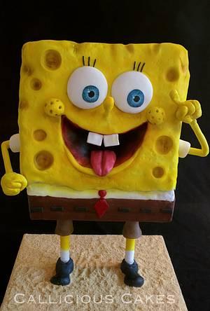 Standing Sponge Bob  - Cake by Calli Creations