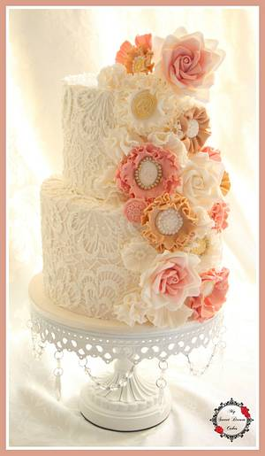 Vintage Lace Wedding Cake - Cake by My Sweet Dream Cakes