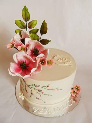 Beige with magnolias - Cake by Veronika
