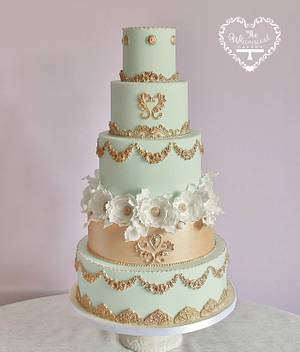 Aqua and Gold Marie Antoinette inspired wedding cake - Cake by The Whimsical Cakery