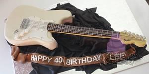 Fender Stratocaster Electric Guitar Cake - Cake by Sonia Huebert