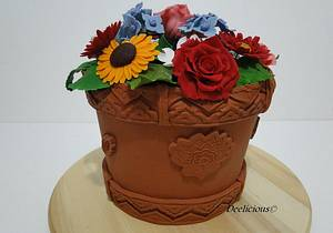 flower potcake - Cake by deelicious