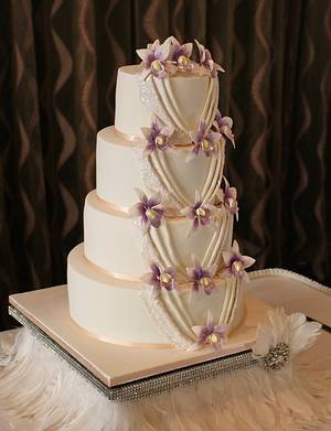 Pleats and Orchids - Cake by Sassy Cakes and Cupcakes (Anna)