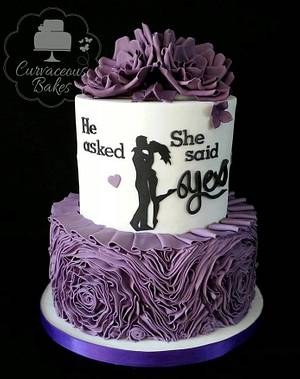 Engagement Silhouette Ruffle Cake  - Cake by CurvaceousBakes