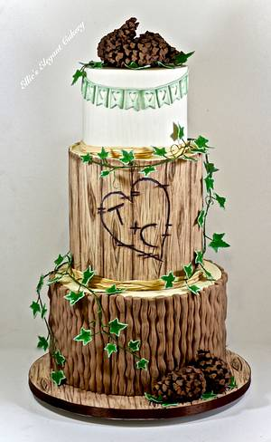 Rustic Wedding Cake with pine cones  - Cake by Ellie @ Ellie's Elegant Cakery