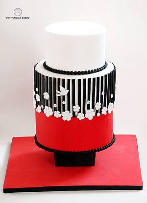 Black, Red and White Wedding Cake - Cake by Sweet Avenue Cakery