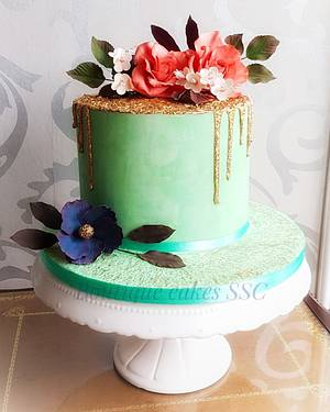 Gold and teal flowers cake - Cake by DDelev