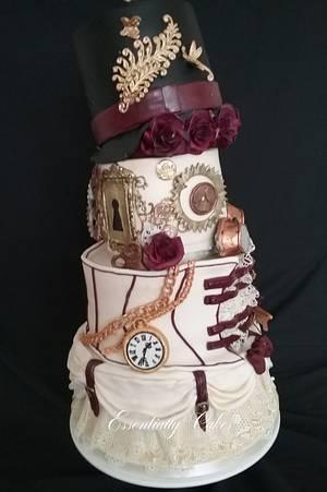 Burgundy & Ivory steam punk wedding - Cake by Essentially Cakes