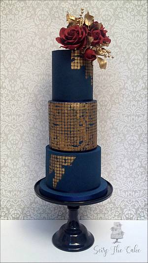 Navy blue and red roses wedding cake - Cake by Seize The Cake