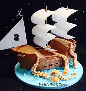 Pirate ship & sea monster cake - Cake by Mirtha's P-arty Cakes