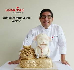 Year of the Pig Cake Challenge - Cake by Erick Zea O'Phelan Suárez Sugar Art