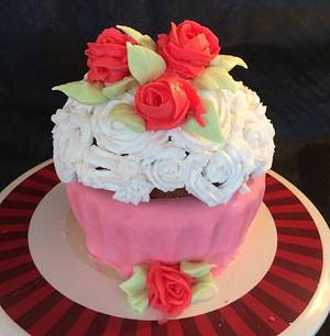 A Giant Cupcake with Buttercream Roses! - Cake by Woody's Bakes