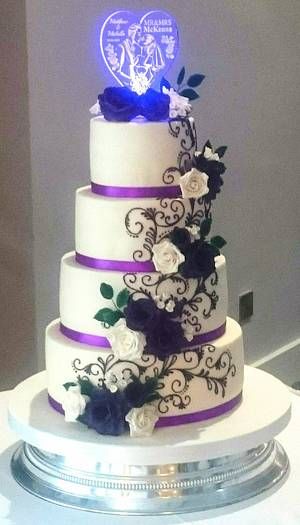 Purple Roses and Piped Scrolls wedding - Cake by SugarMagicCakes (Christine)