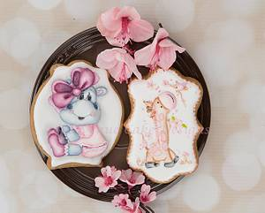 Adorable Royal Icing Baby Animal Cookies with Dimension 🦒🐮👶 - Cake by Bobbie