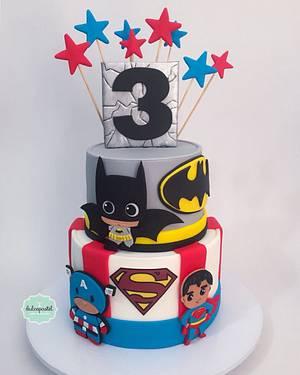 Torta Superhéroes Bebés - Superhero babies cake - Cake by Dulcepastel.com
