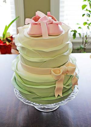 Shabby Chic Vintage Sage and Pink Ruffles Baby Shower Cake - Cake by Rose Atwater