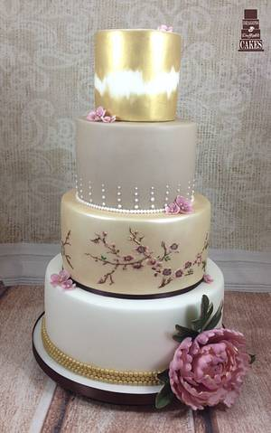 Gold Peony Wedding Cake - Cake by Dragons and Daffodils Cakes