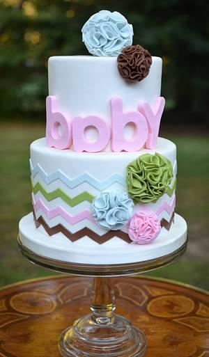 Pom Pom and Chevron Baby Shower Cake - Cake by Elisabeth Palatiello