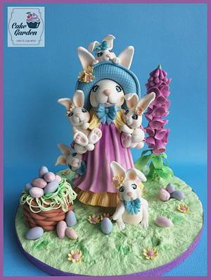 Fondant Cake Topper Sweet Easter Collaboration; Easter bunnies! - Cake by Cake Garden