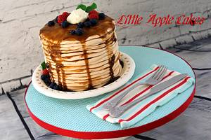 Pancake cake with hand made edible silverware and plate - Cake by Little Apple Cakes
