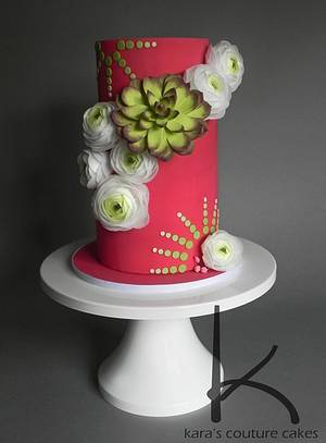 Wafer Ranunculus and Sempervivum - Cake by Kara's Couture Cakes