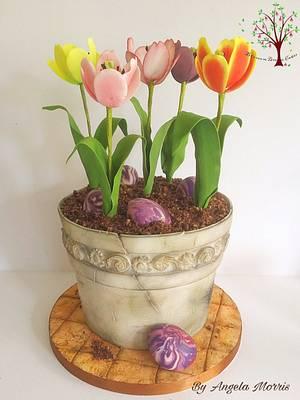 Pot of Tulips - Cake by Blossom Dream Cakes - Angela Morris