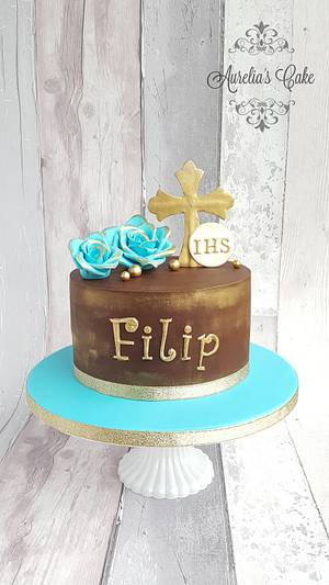 First Communion cake in blue and gold - Cake by Aurelia's Cake