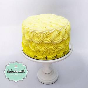 Yellow Flowers Cake - Torta de Flores Amarillas - Cake by Dulcepastel.com
