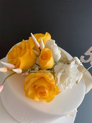 Golden wedding anniversary cake - Cake by Penny Sue