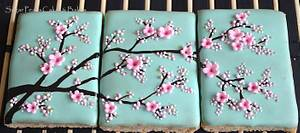 Japanese Plum Blossom Cookie Triptych - Cake by SugarPearls