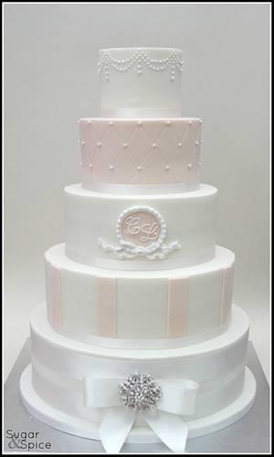 White and Blush Wedding Cake - Cake by Sugargourmande Lou