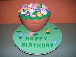 Flower Pot Cake - Cake by Sarah
