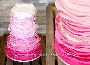 Pink Ombre Ruffles - Cake by The Mixing Bowl Cake Company