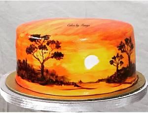 Hand painted cake.  - Cake by Cakesbymanya