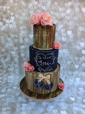 Rustic Chalkboard Wedding Cake - Cake by The Crafty Kitchen - Sarah Garland