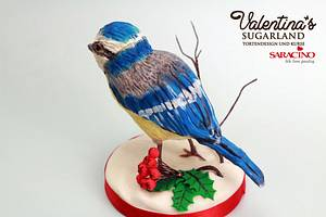 Blue Tit on a Log Cake - Cake by Valentina's Sugarland